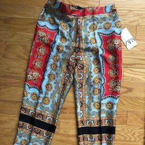 Zara silk print pants size M
